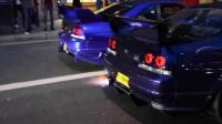 两台改装GT-R街头喷火较劲