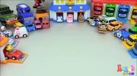 变形警车珀利(Robocar Poil)消防车玩具,海利(Heli)被大火困在救援中心楼顶了!