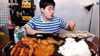 韩国MBRO大胃王吃播大挑战(8大块鸡排、一桶饭)直播间2017.3.23