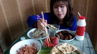 [吃播小诺2]  温州麦饼王  山粉饺  红烧排骨  自创凉拌莴笋萝卜伴木耳   外加一碗白米饭