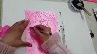 单色吹塑纸版画《小女孩》美术课