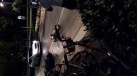 这是有多快, 树撞脱皮, 扫倒一片共享单车