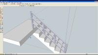 淄川中学创新教育处制作  3D设计课程  sketchup8 ——栏杆挡板及整体楼梯设计过程3