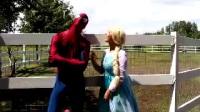 蜘蛛侠和艾莎公主的蒙眼猜巧克力的游戏