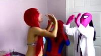 益智玩具黑暗蜘蛛侠蜘蛛侠不小心吃了小美人鱼猫女将艾莎公放放铁轨上