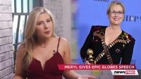 梅丽尔·斯特里普(Meryl Streep)在2017年金球奖(Golden Globes)颁奖典礼上发表演讲,对唐纳德·特朗普进行了抨击。