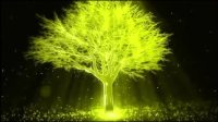 极乐世界七宝宝树白玉水晶树干绿宝石树叶子闪现七彩光芒