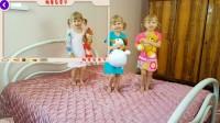 铅笔岛亲子 五小婴孩跳跃的歌曲为孩子学会颜色与我和童谣歌曲