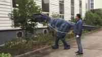 恐龙表演服 仿真恐龙服 互动恐龙皮套 人穿恐龙 蓝色暴龙演出服
