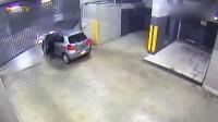 要不是有监控,真不相信会有这么笨的司机,开车能把自己撞了!