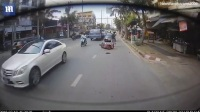 Thai driver smashing into car's window