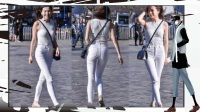 成都街拍 白色紧身裤的小姐姐 你这么穿很高调