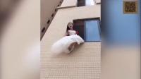 【姑娘, 你怎么能睡在这里啊】搞笑视频