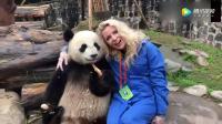 看到中国熊猫,老外一点抵抗力都没有,能跟熊猫合影是无比的幸福