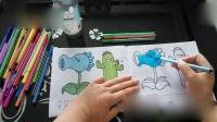 植物大战僵尸涂画 寒冰射手仙人掌涂色填色早教益智视频