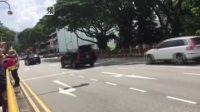 直击美国总统特朗普专车车队驶离新加坡总统府