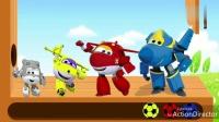 四种颜色的超级飞侠滚足球游戏你玩过吗