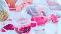 星空乡村面包、牛奶、玫瑰花洛神茶 Starry rustic bread, milk, rose, Luoshen tea