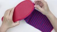 雅馨绣坊~斜条纹~棉鞋编织方法