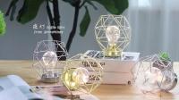 简约几何钻石灯 ins北欧风格 小夜灯装饰灯铁艺台灯创意 家居摆件