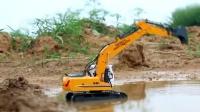 双鹰超大号遥控儿童挖掘机玩具充电挖土机工程车合金挖机搅拌车模