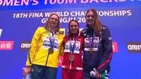 女子100米仰泳决赛颁奖典礼-暖心! 凯莉梅瑟登顶领奖台收获重重祝贺 2019 FINA游泳世锦赛 81