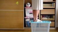 君晓天云茶花收纳箱塑料特大号衣服收纳箱子玩具透明加厚被子收纳箱带滚轮