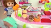 宝宝带婴儿去逛超市,棒棒糖和冰淇淋玩具,过家家玩具