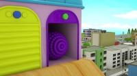 彩色球从滑滑梯下来,染料池变出彩色汽车,宝宝学英语启蒙动画