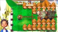 仙人掌在攻击,坚果负责防御  植物大战僵尸游戏