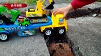 挖机玩具视频、大卡车翻下悬崖后飞机来救援