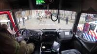 实拍荷兰消防车出警过程