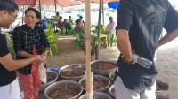 越南美奈渔村的海鲜市场,在渔民渔船上岸的海边,出售新鲜的海鲜