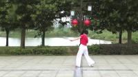 第五套柔力球双拍双球广场健身套路《火火的姑娘》背面动作示范 李翠芳