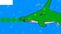 让孩子们学会鲨鱼和鲸鱼的颜色动物动画为孩子们准备科斯托