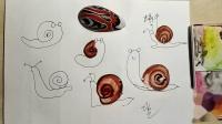 儿童趣味《简笔画蜗牛水彩上色》教程,适合3至6岁宝宝学画画