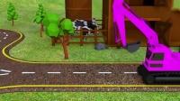 趣味益智动画片大橙子大西瓜吃挖掘机