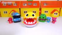 小鳄鱼,小鲨鱼还有小巴士吃了很多糖果长蛀牙了,小尖牙牙刷玩具