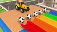 创意早教:足球彩虹滑梯撞出各色彩球动画学颜色