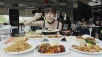 【吃遍互联网】大胃mini在阿里食堂独享大餐,光点菜就用个小推车