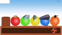 农场动物球冰淇淋锥学习颜色与农场动物错误头虫子拼图