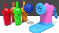 宝宝学颜色,将大球放入机器,出来好多不同色彩的小球,亲子早教