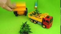 叨叨儿童早教水泥搅拌车、大卡车、翻斗车、大铲车玩具修花园1230