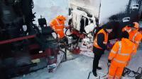 Die Rettung der Brockenlok 99 234 am 10Januar 2019 Brockenbahn eingefroren