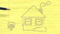 搞笑铅笔动画,铅笔人从房子里出来,给美女献花
