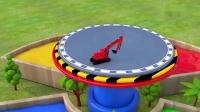 宝宝益智早教:红铲车真厉害,打败了压路机,把压路机变成蓝色