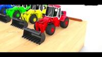 早教玩具色彩:彩色的卡车消防车和搅拌机