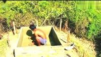 牛人小哥!森林中过原始日常生活,在地下房屋上建造游泳池