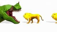 学习儿童恐龙和狮子的颜色红色蓝色绿色紫色儿童区的基本颜色