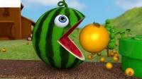 学习与和农场西瓜水果瓢虫惊喜玩具街车辆的颜色为孩子(1)